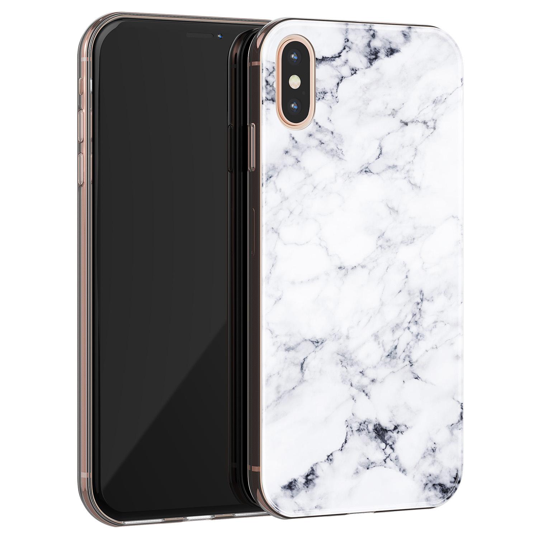 iPhone X/XS siliconen hoesje - Marmer grijs