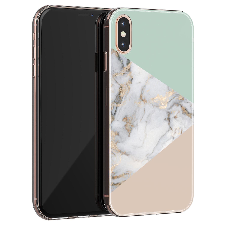 Leuke Telefoonhoesjes iPhone X/XS siliconen hoesje - Marmer pastel mix