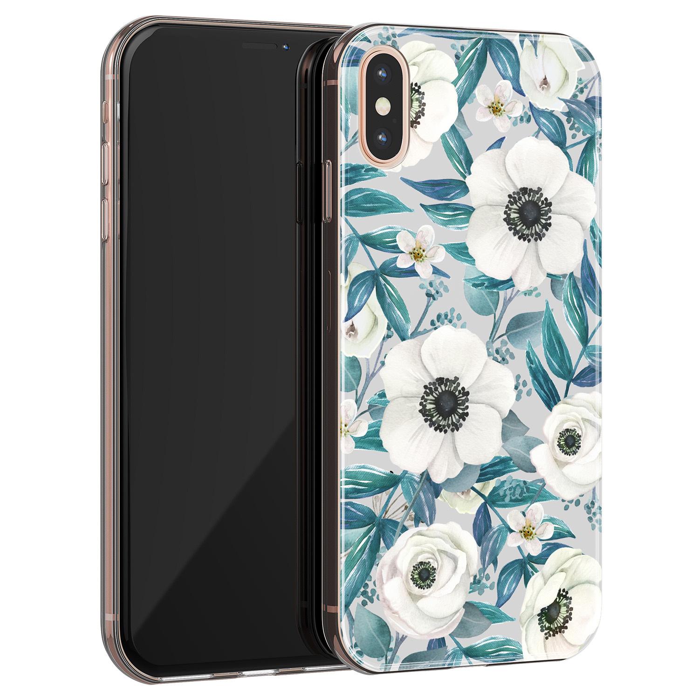 iPhone X/XS siliconen hoesje - Witte bloemen