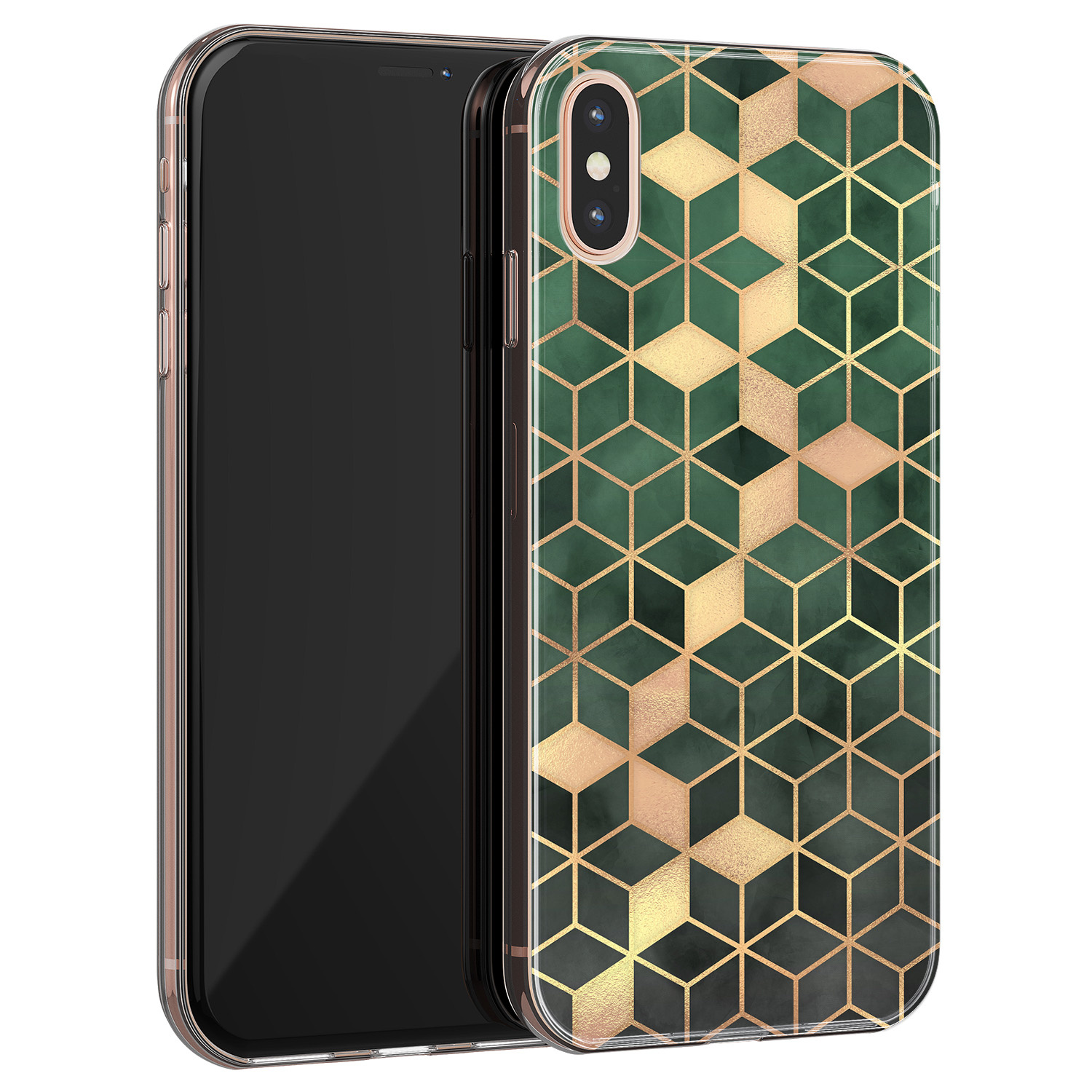 iPhone XS Max siliconen hoesje - Green cubes