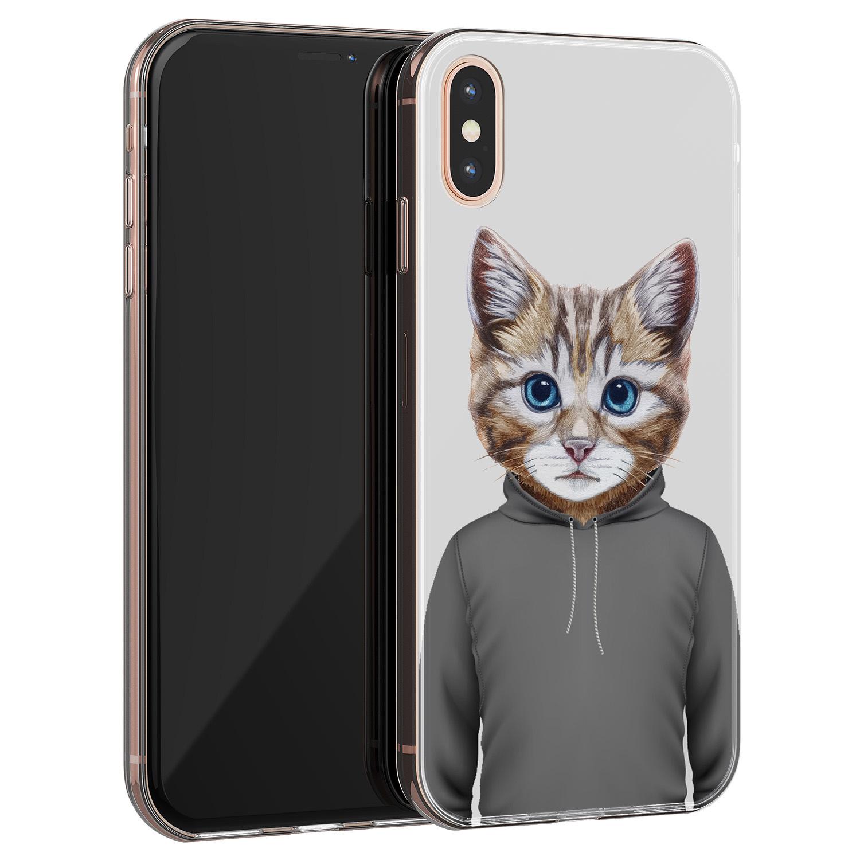 iPhone XS Max siliconen hoesje - Poezenhoofd
