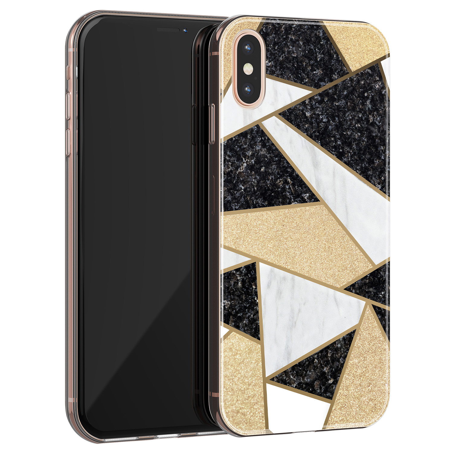 iPhone XS Max siliconen hoesje - Goud abstract