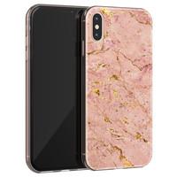 Leuke Telefoonhoesjes iPhone XS Max siliconen hoesje - Marmer roze goud