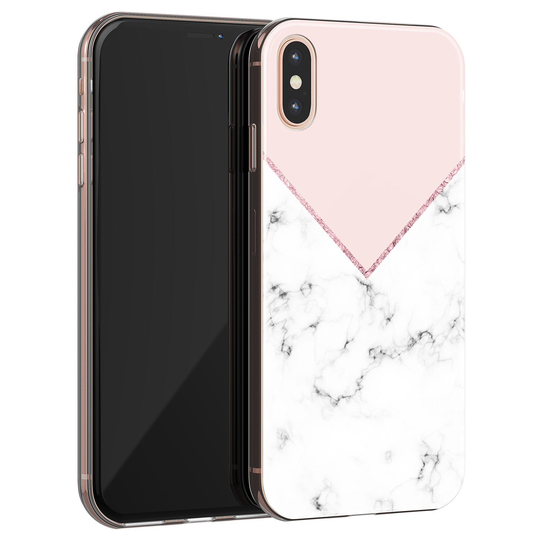 iPhone XS Max siliconen hoesje - Marmer roze grijs
