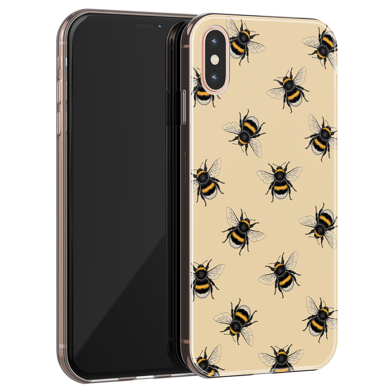Leuke Telefoonhoesjes iPhone XS Max siliconen hoesje - Bee happy