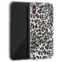 iPhone XS Max siliconen hoesje - Luipaard grijs