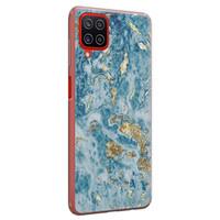 Samsung Galaxy A12 siliconen hoesje - Goud blauw marmer