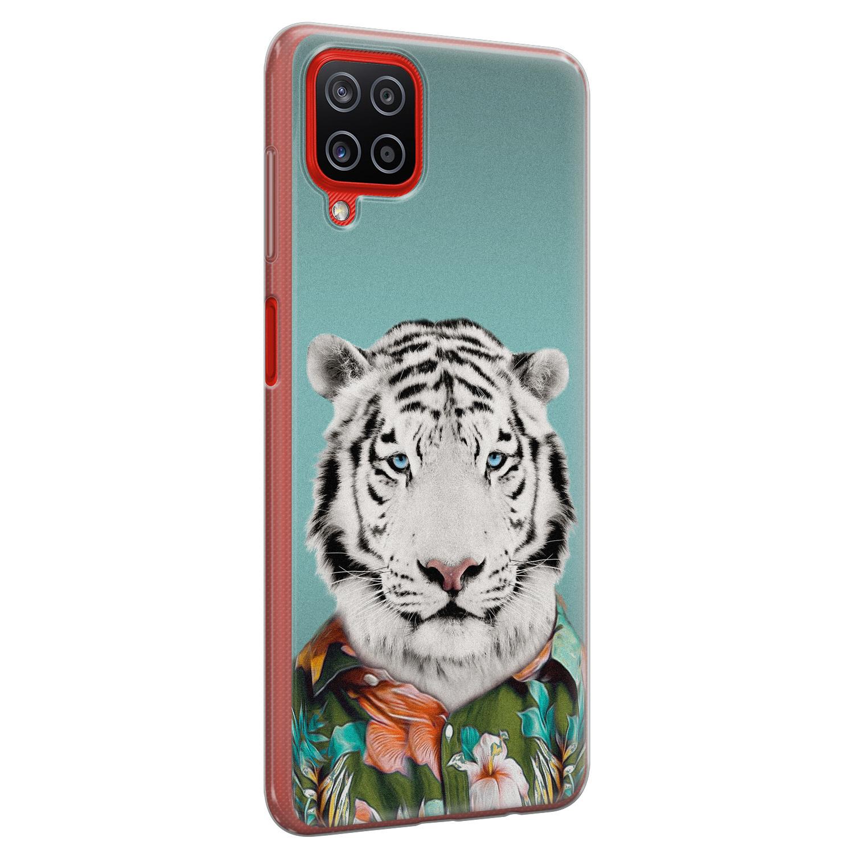 Samsung Galaxy A12 siliconen hoesje - Witte tijger