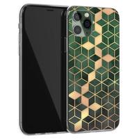 Leuke Telefoonhoesjes iPhone 11 Pro siliconen hoesje - Green cubes
