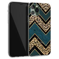 iPhone 11 Pro siliconen hoesje - Luipaard zigzag