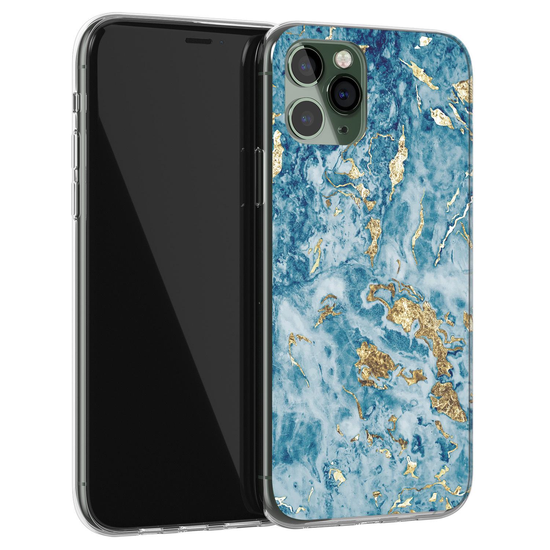 iPhone 11 Pro siliconen hoesje - Goud blauw marmer