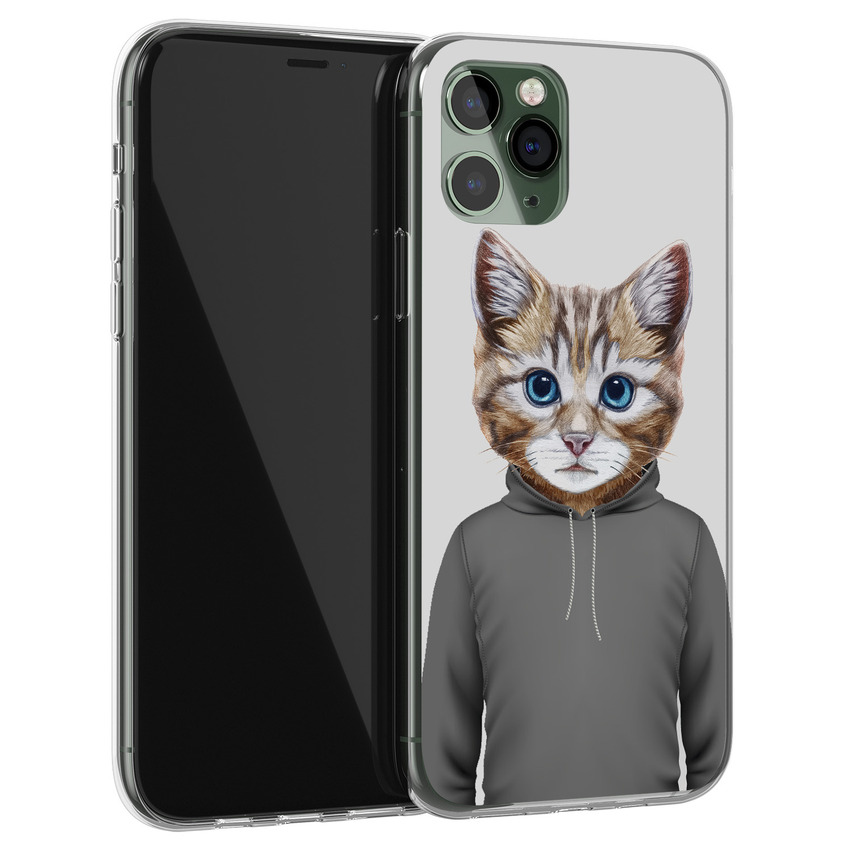 Leuke Telefoonhoesjes iPhone 11 Pro siliconen hoesje - Poezenhoofd