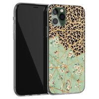 iPhone 11 Pro Max siliconen hoesje - Luipaard flower print