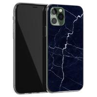 iPhone 11 Pro Max siliconen hoesje - Marmer navy blauw