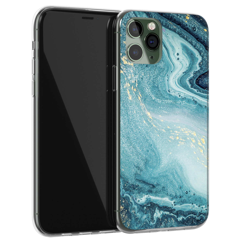 iPhone 11 Pro Max siliconen hoesje - Marmer blauw