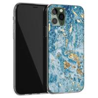 iPhone 11 Pro Max siliconen hoesje - Goud blauw marmer