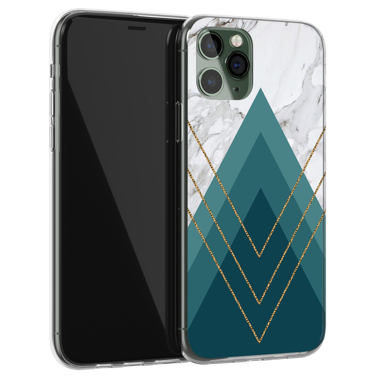 iPhone 11 Pro Max siliconen hoesje - Geometrisch blauw