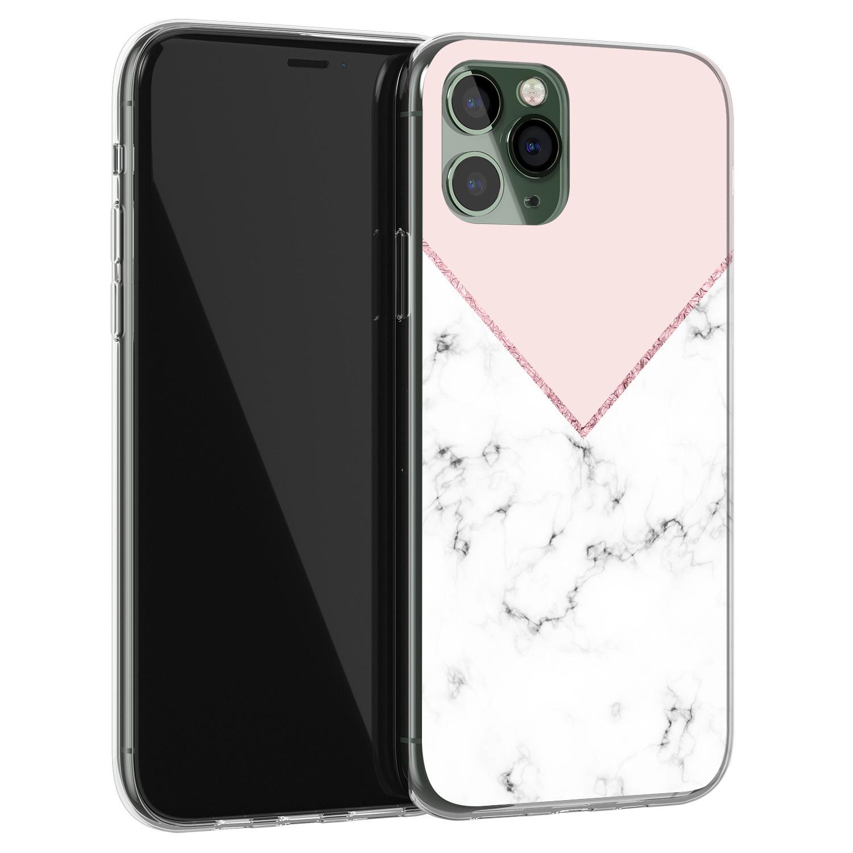 iPhone 11 Pro Max siliconen hoesje - Marmer roze grijs
