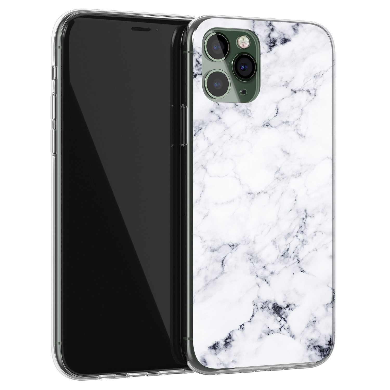 Leuke Telefoonhoesjes iPhone 11 Pro Max siliconen hoesje - Marmer grijs
