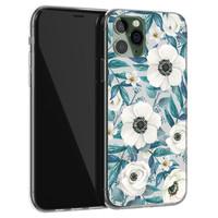 Leuke Telefoonhoesjes iPhone 11 Pro Max siliconen hoesje - Witte bloemen