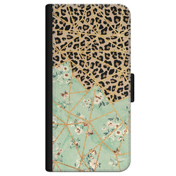 iPhone 12 bookcase leer - Luipaard flower print