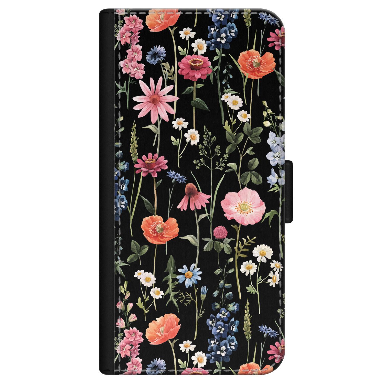 iPhone 12 bookcase leer - Dark flowers