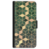 iPhone 12 bookcase leer - Green cubes