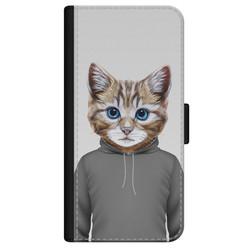 iPhone 12 bookcase leer - Poezenhoofd
