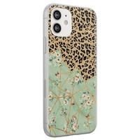 Leuke Telefoonhoesjes iPhone 12 siliconen hoesje - Luipaard flower print