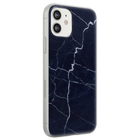 Leuke Telefoonhoesjes iPhone 12 siliconen hoesje - Marmer navy blauw