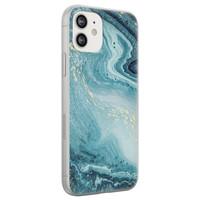 iPhone 12 siliconen hoesje - Marmer blauw