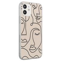 iPhone 12 siliconen hoesje - Abstract gezicht lijnen