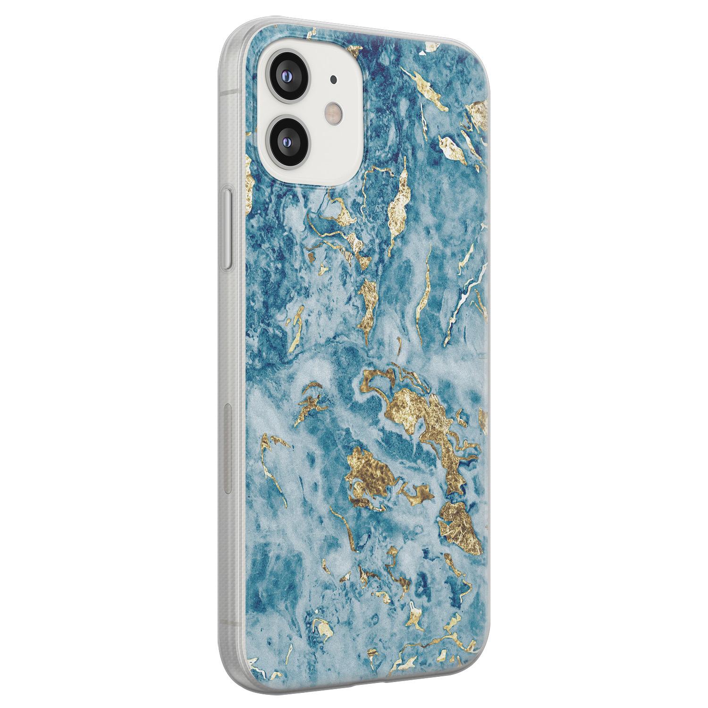 iPhone 12 siliconen hoesje - Goud blauw marmer