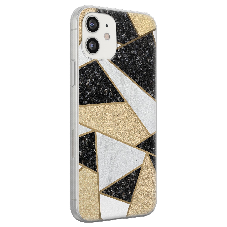 Leuke Telefoonhoesjes iPhone 12 siliconen hoesje - Goud abstract