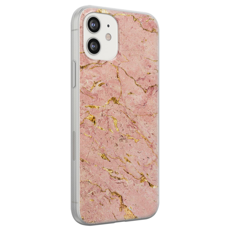 iPhone 12 siliconen hoesje - Marmer roze goud