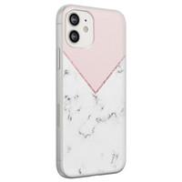 Leuke Telefoonhoesjes iPhone 12 siliconen hoesje - Marmer roze grijs