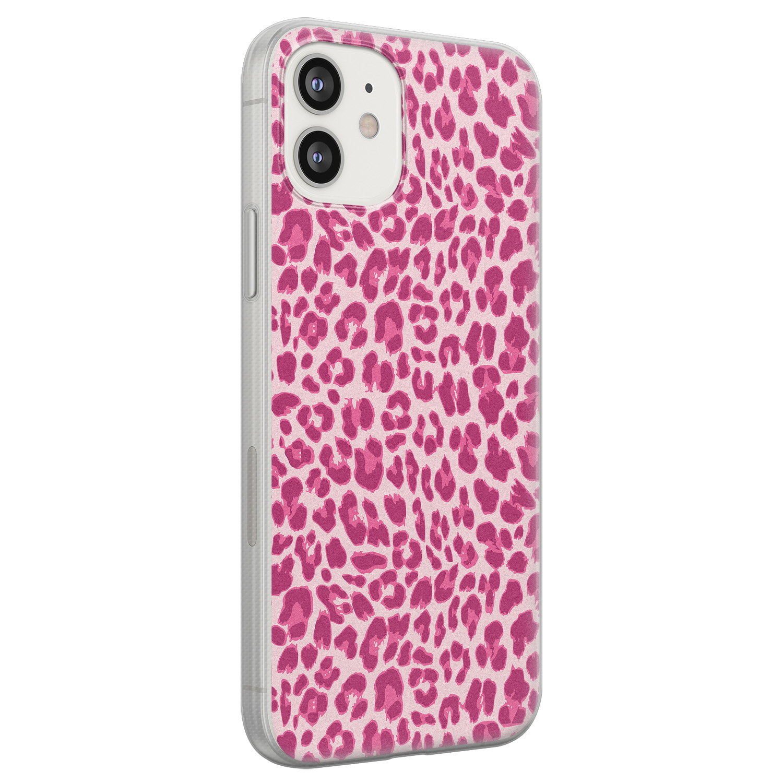 iPhone 12 siliconen hoesje - Luipaard roze