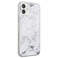 iPhone 12 siliconen hoesje - Marmer grijs