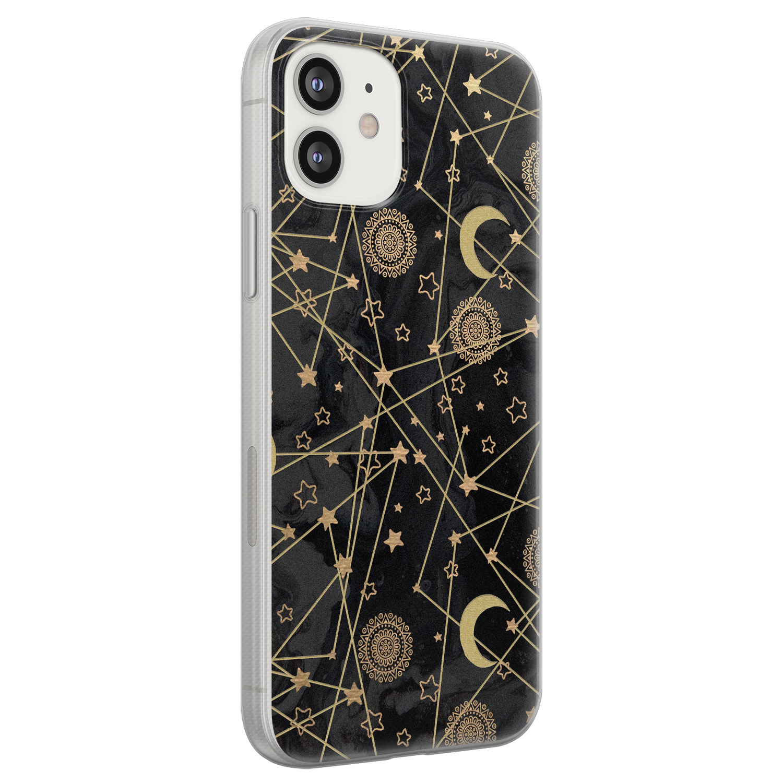 iPhone 12 siliconen hoesje - Sun, moon, stars