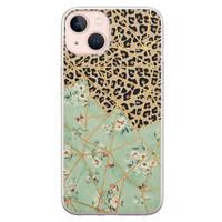Leuke Telefoonhoesjes iPhone 13 siliconen hoesje - Luipaard flower print