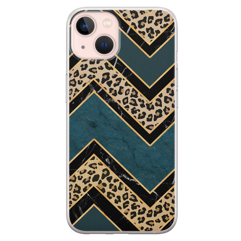 Leuke Telefoonhoesjes iPhone 13 siliconen hoesje - Luipaard zigzag