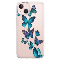 Leuke Telefoonhoesjes iPhone 13 siliconen hoesje - Vlinders blauw