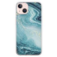 Leuke Telefoonhoesjes iPhone 13 siliconen hoesje - Marmer blauw