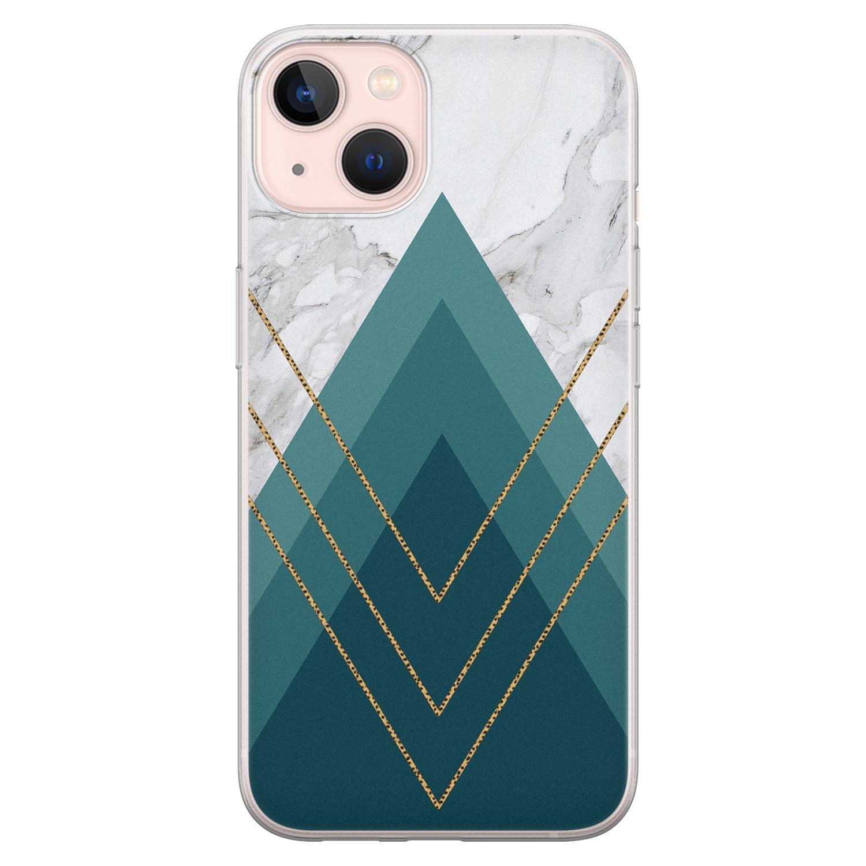 Leuke Telefoonhoesjes iPhone 13 siliconen hoesje - Geometrisch blauw