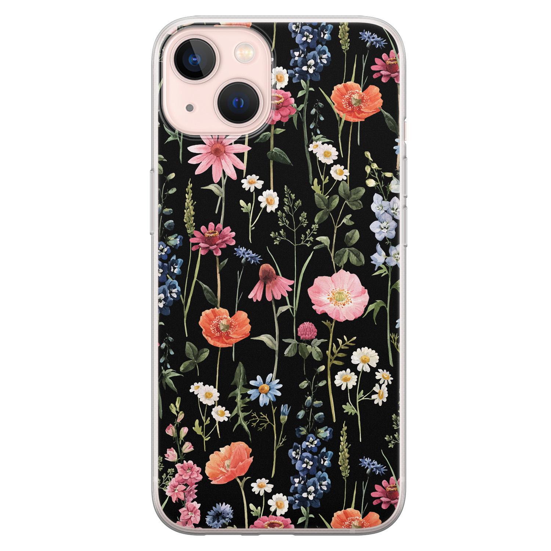 Leuke Telefoonhoesjes iPhone 13 siliconen hoesje - Dark flowers