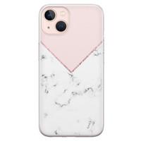 Leuke Telefoonhoesjes iPhone 13 siliconen hoesje - Marmer roze grijs
