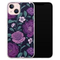 Leuke Telefoonhoesjes iPhone 13 siliconen hoesje - Bloemen paars
