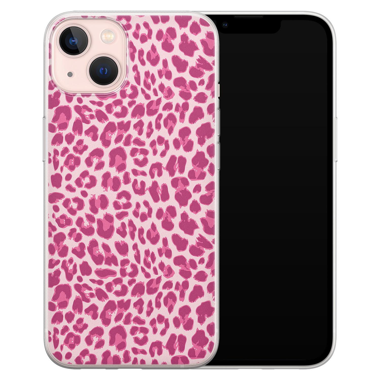Leuke Telefoonhoesjes iPhone 13 siliconen hoesje - Luipaard roze