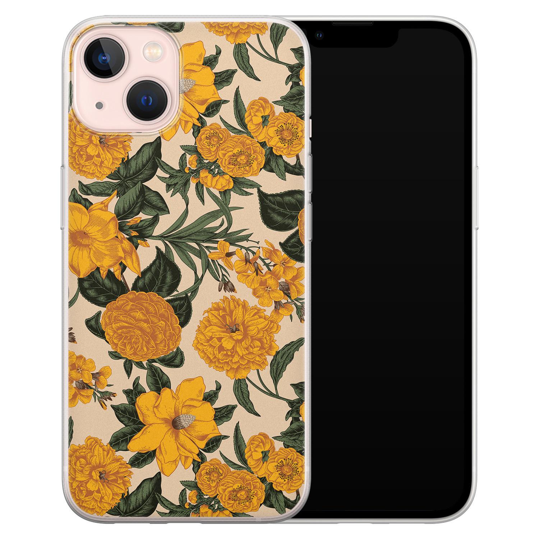 Leuke Telefoonhoesjes iPhone 13 siliconen hoesje - Retro flowers