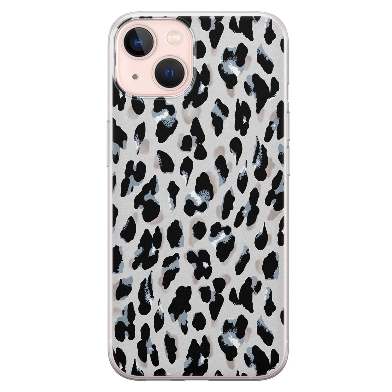 Leuke Telefoonhoesjes iPhone 13 siliconen hoesje - Luipaard grijs